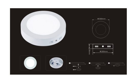 Surface Mounted LED Panel Light Round Φ300mm 24w 2500lm-3